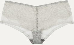 Montsouris Vincennes Chantilly Lace And Tulle Briefs - Light gray