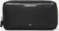 Suncreams Leather-trimmed Shell Cosmetics Case - Black