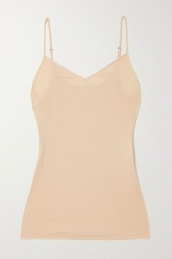 Satin-trimmed Mercerized Cotton Camisole - Sand