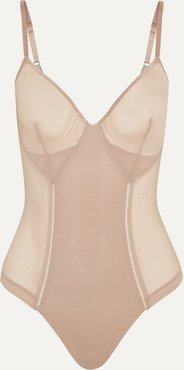 Haute Contour Nouveau Stretch-mesh Thong Bodysuit - Neutral