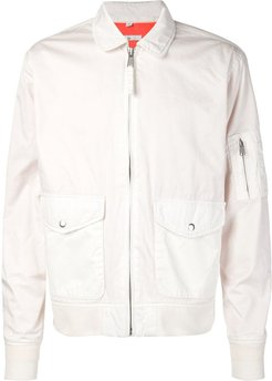 zipped flight jacket - White