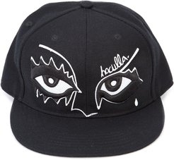 eye embroidered patch cap - Black