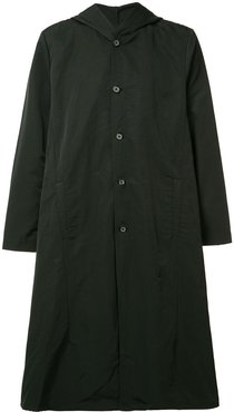 buttoned hooded coat - Black