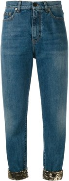 sequin turn-up jeans - Blue