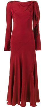 full length dress with cut-out detailing - Red
