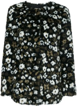 Floral Faux Fur Jacquard jacket - Black