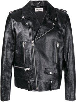 fitted biker jacket - Black