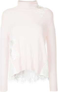 floral lace patch sweater - PINK