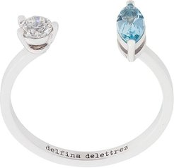Dots Solitaire aquamarine and diamond ring - Blue