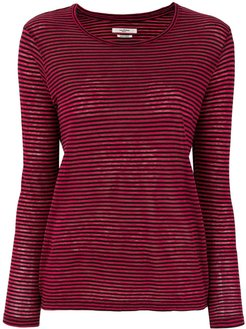 striped long sleeve T-shirt - Red