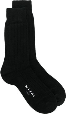 logo-print knit socks - Black