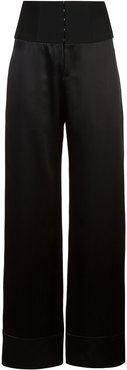 high waisted palazzo trousers - Black