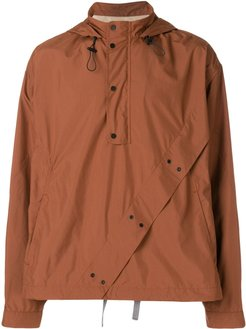 boxy button hoodie - Brown