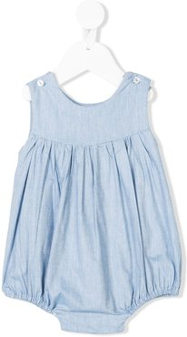 gathered chambray romper - Blue