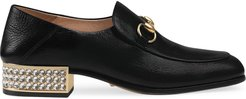Horsebit leather loafers with crystals - Black