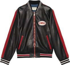 Leather bomber with Gucci pool patch - Black