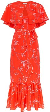 Margarita crepe floral print cape detail dress - Red
