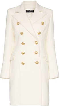 double breasted cashmere blend coat - White