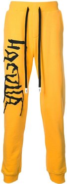logo embroidered track trousers - Yellow