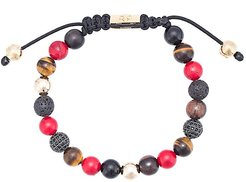 Red Jade, Brown Tiger Eye, Lava Stone, Agate, and Ebony Black CZ beaded bracelet