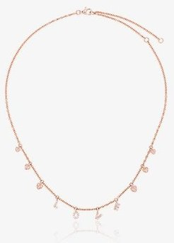 18K rose gold Love and Heart pendant necklace