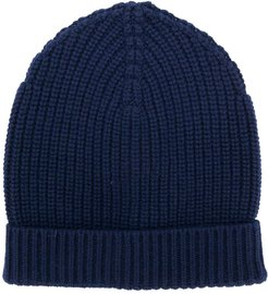 ribbed knit beanie - Blue