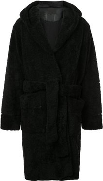 fur robe coat - Black