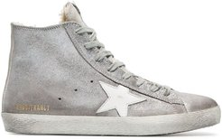 silver Sheepskin lined suede high top sneakers