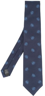 embroidered tie - Blue