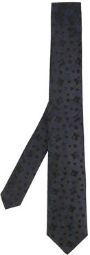 abstract print tie - Blue