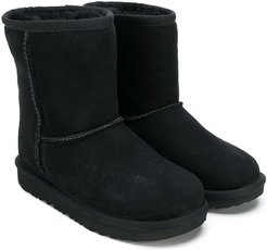 fur lined boots - Black
