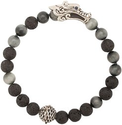 Silver and Sapphire Legends Naga Mixed Bead Bracelet with Station - Black