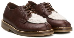 contrast panel lace-up shoes - Brown