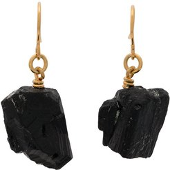 gold plated The Raw One Black Tourmaline earrings