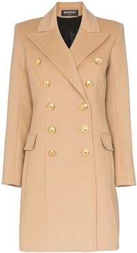 double-breasted wool and cashmere-blend coat - Neutrals