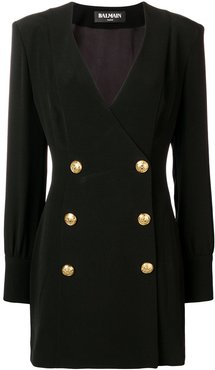embossed button dress - Black