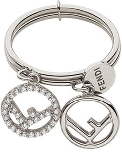 double logo charm ring - SILVER