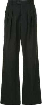 flared check trousers - Grey
