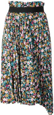pleated floral skirt - Blue