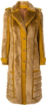 faux fur coat - ORANGE