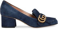 Suede mid-heel pump with Double G - Blue