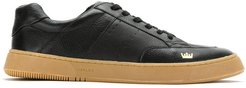 panelled leather sneakers - Black