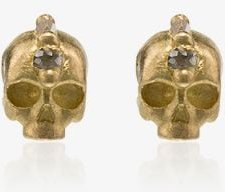 18K yellow gold skull with diamond accents earrings