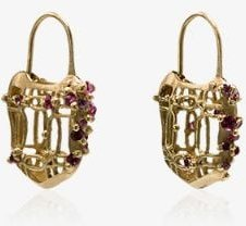 18K yellow gold with pink sapphire padlock earrings