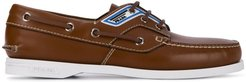 logo-panel boat shoes - Brown