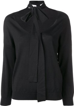 scarf detail jumper - Black