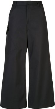 utility pocket cropped trousers - Black
