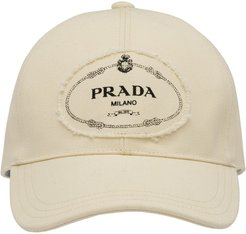 logo print applique cotton cap - White