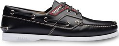 Brushed leather boat shoes - Black