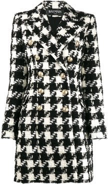 houndstooth double-breasted coat - Black